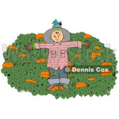Clipart Illustration of a Blue Bird Nesting In The Hat Of A Scarecrow In A Pumpkin Patch © djart #24418
