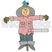 Clipart Illustration of a Depressed Scarecrow On A Post, With A Bluebird Nesting In His Hat © djart #24421