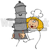 Culinary Clipart Illustration of a Happy Blond Chef Woman In A White Hat And Uniform, Carrying A Large Stack Of Pots © Dennis Cox #24641