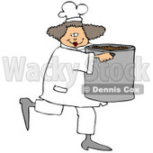 Culinary Clipart Illustration of a Happy Female Chef In A White Uniform And Hat, Prancing Across The Kitchen With A Large Pot Of Beans © Dennis Cox #24642