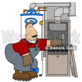 Clipart Illustration of a Worker Man Bending Over And Repairing Wires In An Hvac System © Dennis Cox #24644