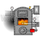 Clipart Illustration of Hot Flames Burning Inside An Open Boiler With Valves On The Pipes © Dennis Cox #24645