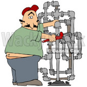 Clipart Illustration of a Surprised Male Plumber Turning With A Shocked Expression, Caught With His But Crack Showing While Fitting Pipes © djart #24646