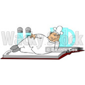Clipart Illustration of a Chubby White Male Chef In A Uniform And Hat, Lying On A Recipe Book In Front Of Salt And Pepper Shakers And A Measuring Cup © Dennis Cox #24705