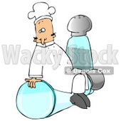 Clipart Illustration of a Male Caucasian Chef In A White Hat And Uniform, Sitting On Top Of A Tipped Salt Shaker In Front Of A Pepper Shaker © djart #24706