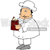 Clipart Illustration of a White Male Chef In A White Uniform And Hat, Standing And Reading A Recipe Book In A Kitchen © Dennis Cox #24707