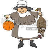 Clipart Illustration of a Friendly Chubby Pilgrim Woman In An Apron, Holding A Pumpkin And Dead Turkey, Preparing A Feast For Thanksgiving © Dennis Cox #24709