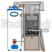 Clipart Illustration of a Furnace And Water Heater In A Residential Home, The Cover Off Of The Furnace © Dennis Cox #24711