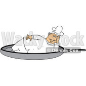Clipart Illustration of a Chubby Male Chef In A White Uniform And Hat, Lying On His Side In A Frying Pan © djart #24754