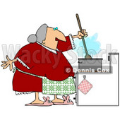 Clipart Illustration of a Senior Granny Wearing A Green Apron Over A Red Dress, Stirring Food In A Pot While Cooking Dinner © djart #24988