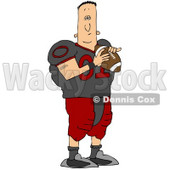 Clipart Illustration of a Black Football Player Man In A Purple And Tan Uniform, Holding A Football And A Helmet © Dennis Cox #24991