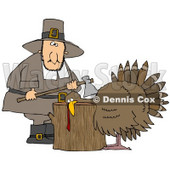 Clipart Illustration of a Turkey With Its Head On A Chopping Block, About To Get His Head Cut Off By A Pilgrim Man With An Ax © Dennis Cox #24992