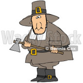 Clipart Illustration of a Male Pilgrim Man In Brown, Carrying An Ax And Searching For A Turkey To Kill For Thanksgiving Dinner © djart #24993