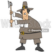 Clipart Illustration of a Male Pilgrim In A Brown Hat And Clothes, Holding Up An Axe And Preparing To Kill Something For Thanksgiving Dinner © djart #24994