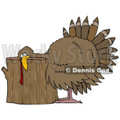 Clipart Illustration of a Plump Turkey Resting Its Head On A Wood Stump Chopping Block, Ready To Be Killed For Thanksgiving © djart #24996