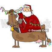 Clipart Illustration of Santa Riding A Cow Decorated In Colorful Christmas Lights © Dennis Cox #25119