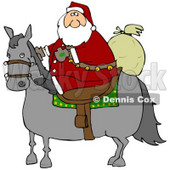 Clipart Illustration of Santa Claus Riding On A Gray Horse, His Sack Of Toys Behind Him © Dennis Cox #25121