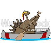 Clipart Illustration of a Thanksgiving Turkey Bird Escaping From Being Butchered While Paddling Away In A Canoe © Dennis Cox #25419