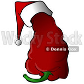 Clipart Illustration of a Spicy Red Christmas Pepper Wearing A Santa Hat © Dennis Cox #25826