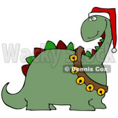 Clipart Illustration of a Green Dinosaur With Red And Green Spikes, Wearing A Santa Hat And Sash Of Jingle Bells © Dennis Cox #25827