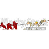 Clipart Illustration of Three Bad Devils Playing Tug Of War With Three Good Angels © Dennis Cox #25830