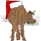 Clipart Illustration of a Brown Dairy Cow With A Santa Hat On Its Butt, Grazing On Grass And Looking Back © djart #25831