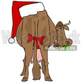 Clipart Illustration of a Brown Dairy Cow With A Red Bow On Its Tail And A Santa Hat On Its Butt, Grazing On Grass And Looking Back © Dennis Cox #25832