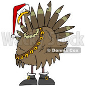 Clipart Illustration of a Festive Turkey Bird In A Santa Hat, Boots And Jingle Bells © Dennis Cox #25833