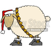 Clipart Illustration of a Festive White Sheep In Boots, Jingle Bells And A Santa Hat © Dennis Cox #25834