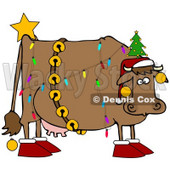Clipart Illustration of a Brown Dairy Cow Decorated Like A Christmas Tree, Wearing A Santa Hat, Jingle Bells, Baubles, A Star And Slippers © djart #25835