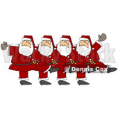 Clipart Illustration of Five Santas In Uniform, Kicking Their Legs Up While Dancing In A Chorus Line © Dennis Cox #26328