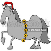 Clipart Illustration of a Handsome Gray Horse Decked Out In A Red Santa Hat And Golden Jingle Bells On Christmas © Dennis Cox #26329