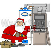 Clipart Illustration of Santa Bending Over And Repairing Wires In An Hvac System For Christmas © Dennis Cox #26330