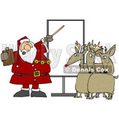 Clipart Illustration of Santa In Uniform, Pointing To A Blank Board And Discussing Christmas Flight Rules And Plans With Reindeer © Dennis Cox #26333