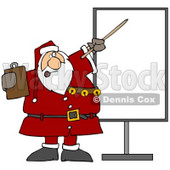 Clipart Illustration of Santa In Uniform, Holding A Clipboard And Using A Pointer Stick While Discussing Christmas Rules On A Board © Dennis Cox #26334