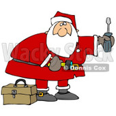 Clipart Illustration of Santa Standing By A Toolbox, Carrying A Flashlight And A Screwdriver, Looking To Do Home Repairs As A Christmas Gift © Dennis Cox #26335