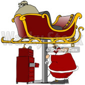 Clipart Illustration of a Sleigh Up On A Jack In A Garage With Santa Repairing It For