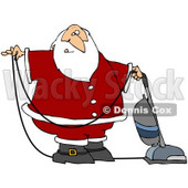 Clipart Illustration of Santa In Uniform, Vacuuming Carpet With A Vacuum © djart #26354