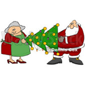Clipart Illustration of Mrs Claus Helping Santa Carry A Decorated Xmas Tree With Lights And Baubles © djart #26590