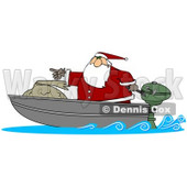 Clipart Illustration of Santa Pointing Forward While Transporting His Toy Sack In A Motor Boat © Dennis Cox #26592