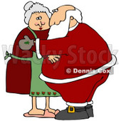 Clipart Illustration of Santa and Mrs Claus Embracing Each Other in a Hug © Dennis Cox #26631
