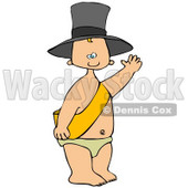 Clipart Illustration of a Happy White New Year's Baby Wearing A Sash, Diaper And A Hat And Waving © Dennis Cox #26633