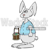 Clipart Illustration of a Cute Gray Buck Toothed Bunny In A Blue Vest, Carrying A Basket Of Colorful Easter Eggs © Dennis Cox #26987