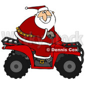 Clipart Illustration of Santa Claus In His Red Suit, Riding A Red Atv In The Snow © Dennis Cox #26988