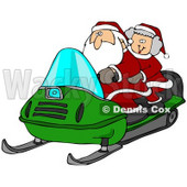 Clipart Illustration of Santa Claus And Mrs Claus Riding A Green Snowmobile Through The Snow At The North Pole © Dennis Cox #26989