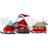Clipart Illustration of Santa Claus Snowmobiling To Deliver Presents, His Sack Of Toys In A Trailer Behind Him © Dennis Cox #26990
