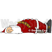 Clipart Illustration of an Exhausted Santa Claus Laying On His Back And Looking Towards The Viewer, Crashing After Delivering Gifts Worldwide © djart #26991