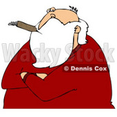 Clipart Illustration of Santa Claus With His Arms Crossed, Smoking A Cigar And Looking Cynical © Dennis Cox #27010