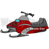 Clipart Illustration of a Red Snowmobile With Gray Stripes And A Cushioned Seat © Dennis Cox #27011