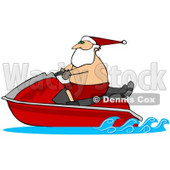 Clipart Illustration of Santa Claus Wearing Shorts And A Hat, Riding On A Red Jet Ski © Dennis Cox #27012